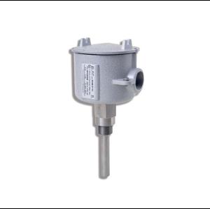 Взривозащитен термостат с корпус от алуминиева сплав. Винтчета от неръждаема стомана. Ръкав за сензора от AISI 316 неръждаема стомана. Зона 1-2-21-22. Серия GUAB37TE