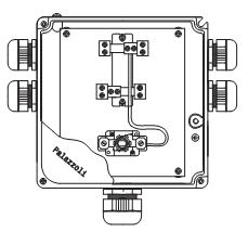 """Пожароустойчива серия """"TUNNEL54"""". Схема на пожароустойчиви кутии от алуминиева сплав с клеми. Предназначени за многополюсни кабели. Оборудвани с щуцер."""