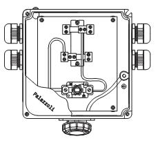 """Пожароустойчива серия """"TUNNEL54"""". Схема на пожароустойчиви кутии от алуминиева сплав с клеми. Предназначени за еднополюсни кабели. Оборудвани с контакт."""